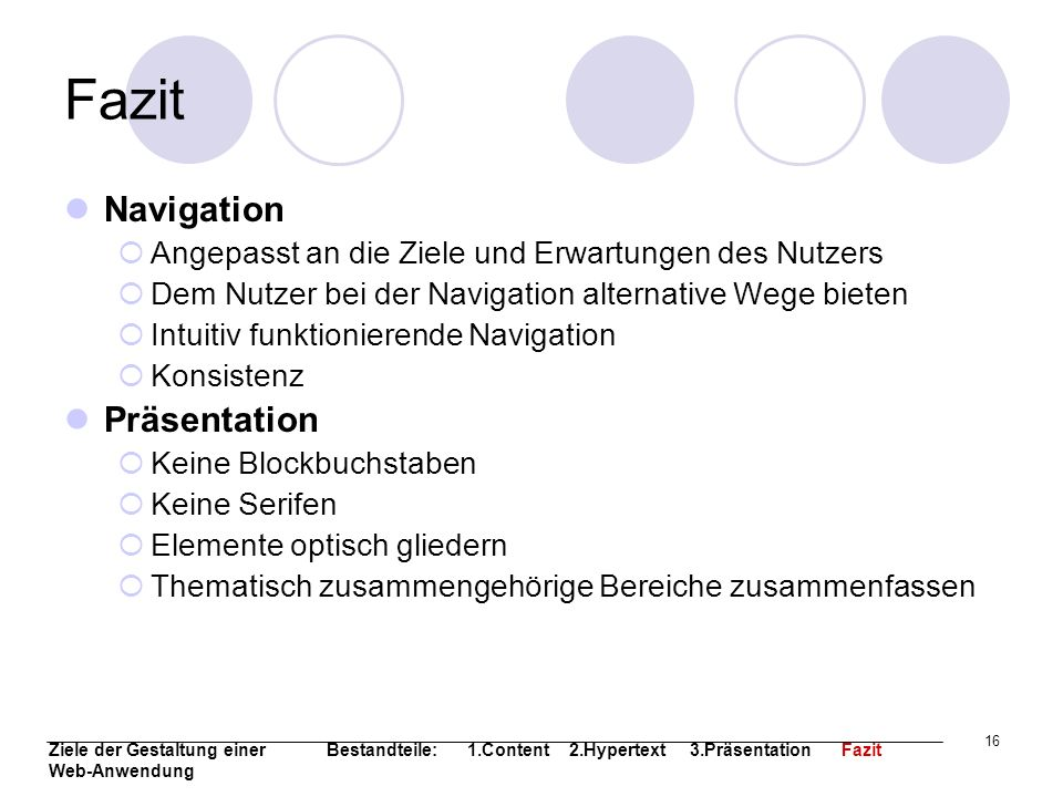 Fazit Navigation Präsentation
