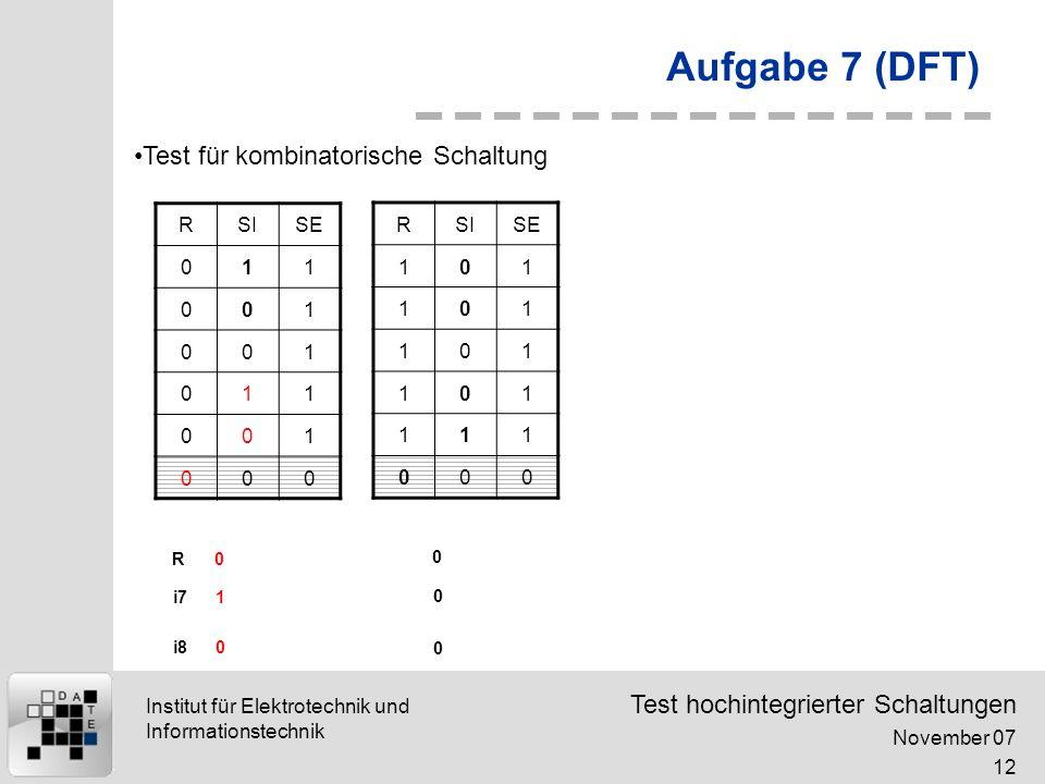 Aufgabe 7 (DFT) Test für kombinatorische Schaltung R SI SE 1 R SI SE 1