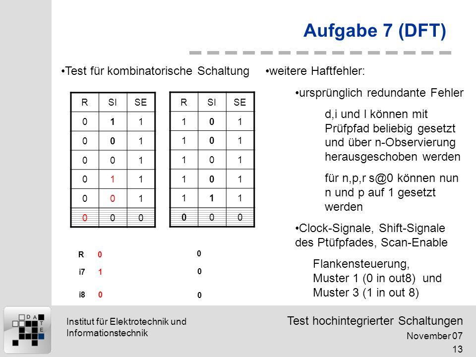 Aufgabe 7 (DFT) Test für kombinatorische Schaltung weitere Haftfehler: