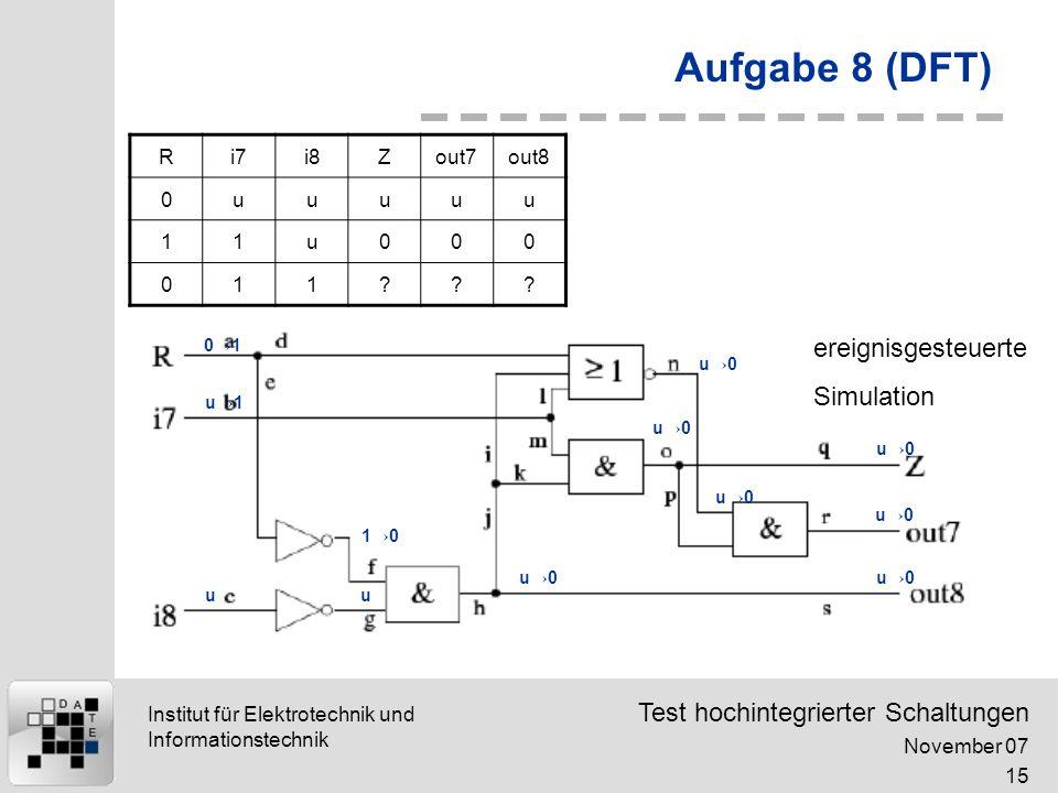 Aufgabe 8 (DFT) ereignisgesteuerte Simulation R i7 i8 Z out7 out8 u 1