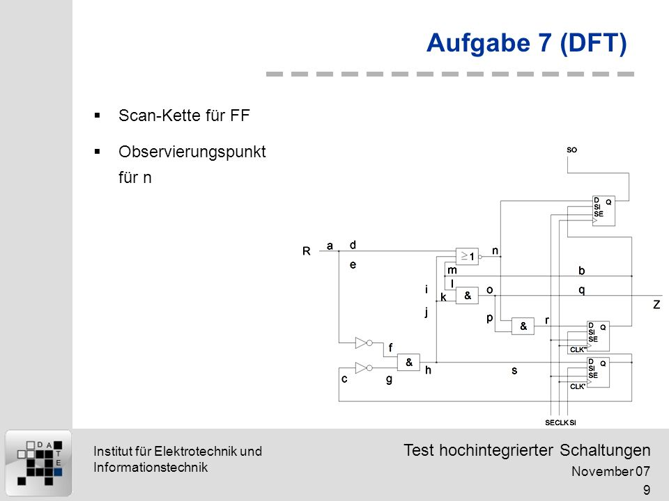 Aufgabe 7 (DFT) Scan-Kette für FF Observierungspunkt für n