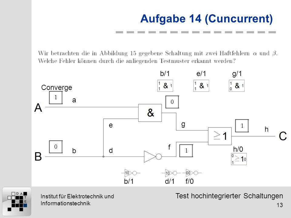 Aufgabe 14 (Cuncurrent) Converge b/1 e/1 g/1 a e g h f b d h/0 b/1 d/1