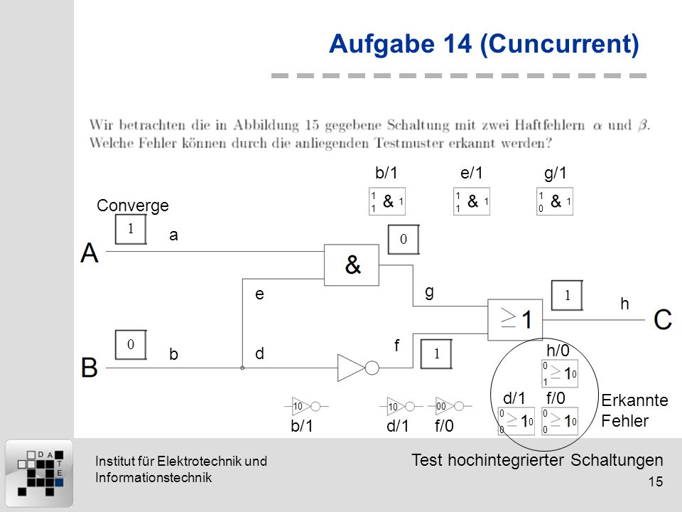 Aufgabe 14 (Cuncurrent) Converge b/1 e/1 g/1 a e g h f b d h/0 d/1 f/0