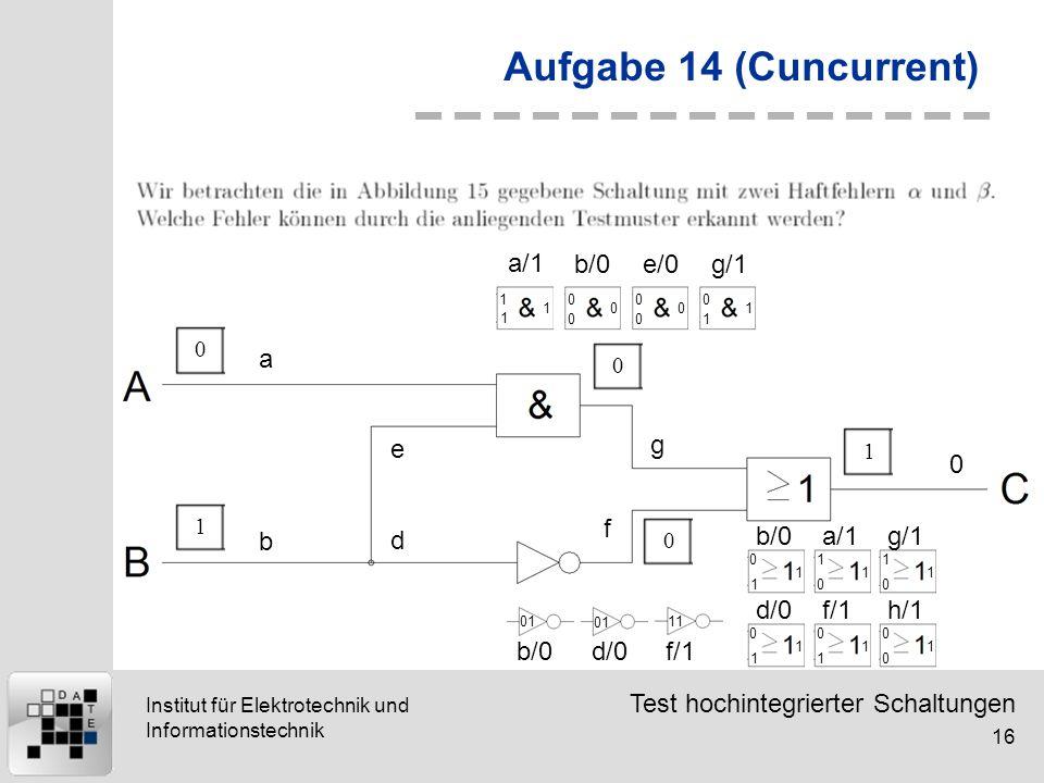 Aufgabe 14 (Cuncurrent) a/1 b/0 e/0 g/1 a e g f b d b/0 a/1 g/1 d/0