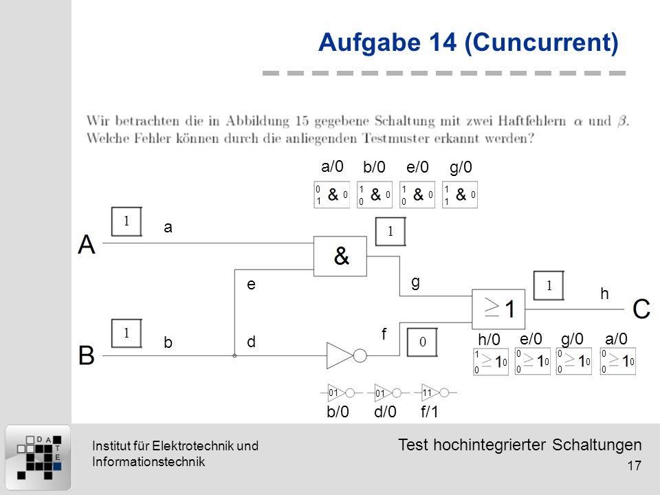 Aufgabe 14 (Cuncurrent) a/0 b/0 e/0 g/0 a e g h f b d h/0 e/0 g/0 a/0