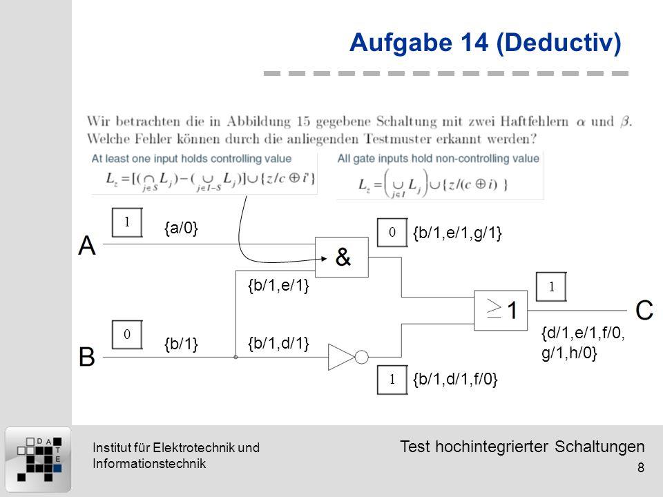 Aufgabe 14 (Deductiv) {a/0} {b/1,e/1,g/1} {b/1,e/1}