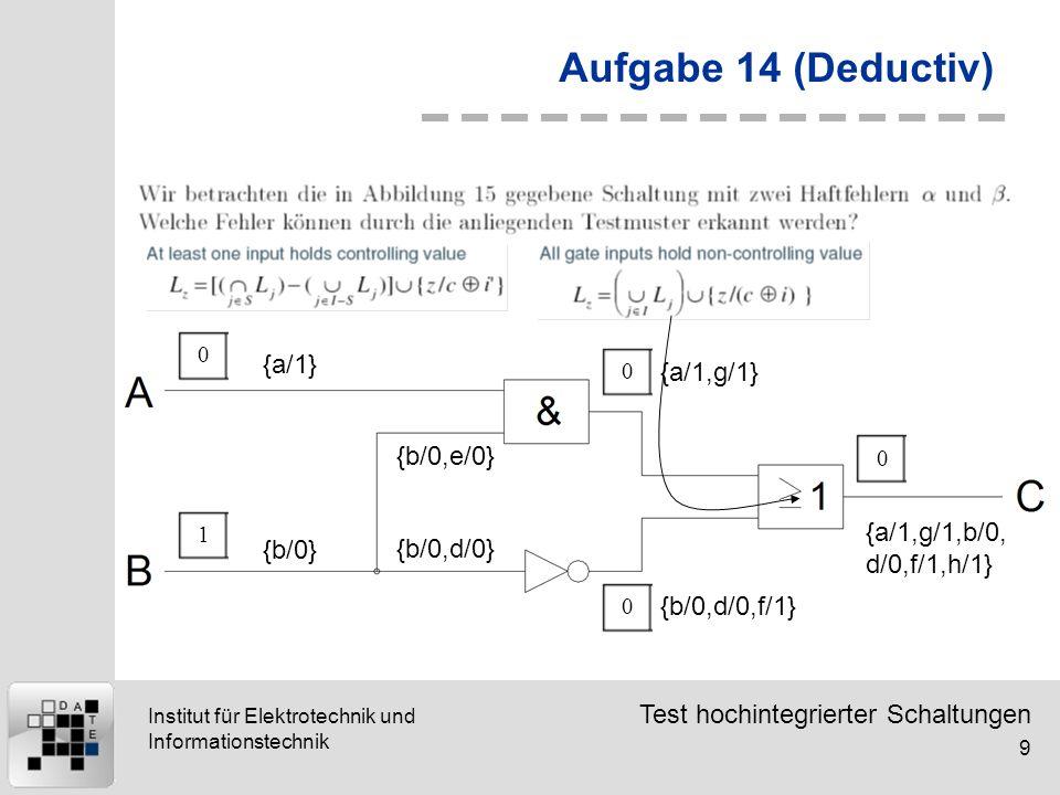 Aufgabe 14 (Deductiv) {a/1} {a/1,g/1} {b/0,e/0}