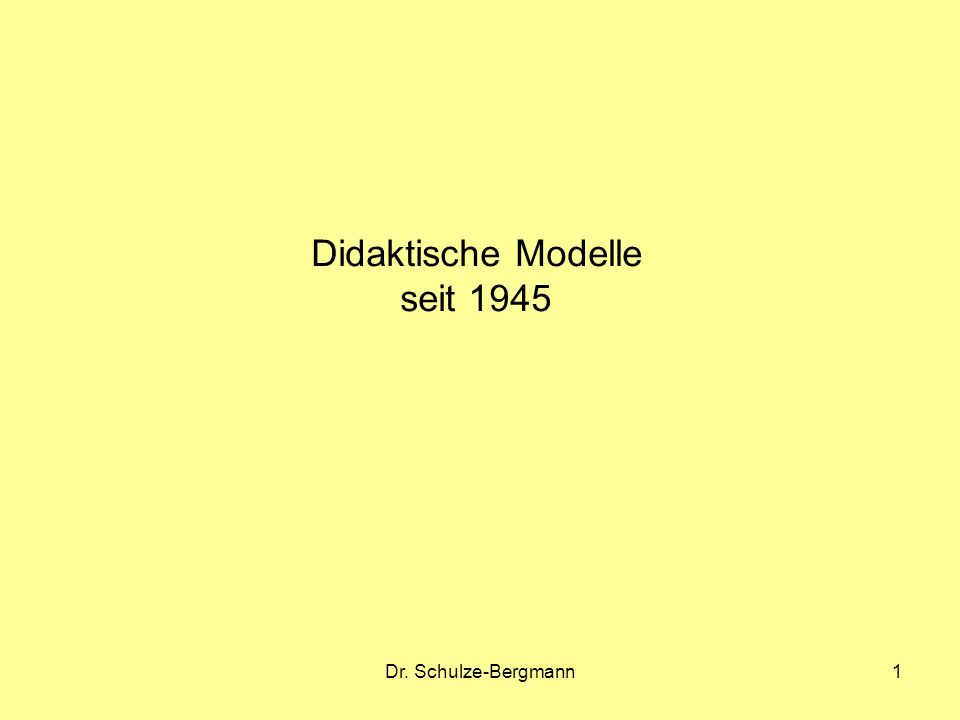 Didaktische Modelle seit 1945