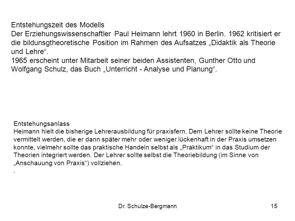 """Entstehungszeit des Modells Der Erziehungswissenschaftler Paul Heimann lehrt 1960 in Berlin. 1962 kritisiert er die bildunsgtheoretische Position im Rahmen des Aufsatzes """"Didaktik als Theorie und Lehre ."""