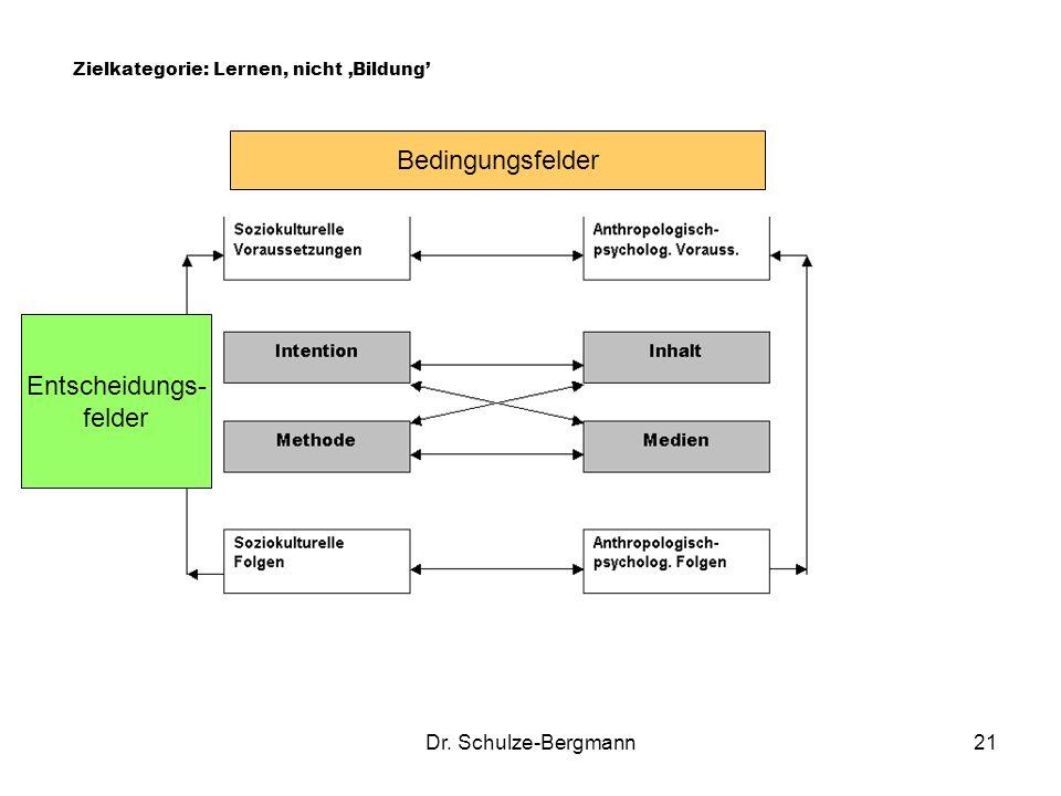 Bedingungsfelder Entscheidungs- felder Dr. Schulze-Bergmann
