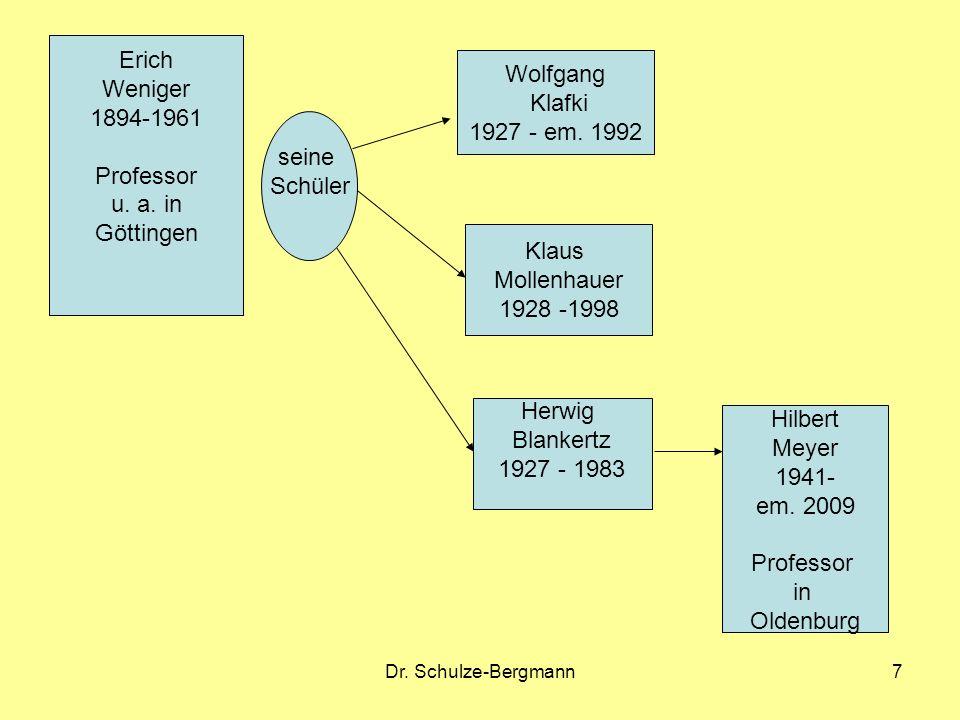 Erich Weniger 1894-1961 Professor u. a. in Göttingen Wolfgang Klafki