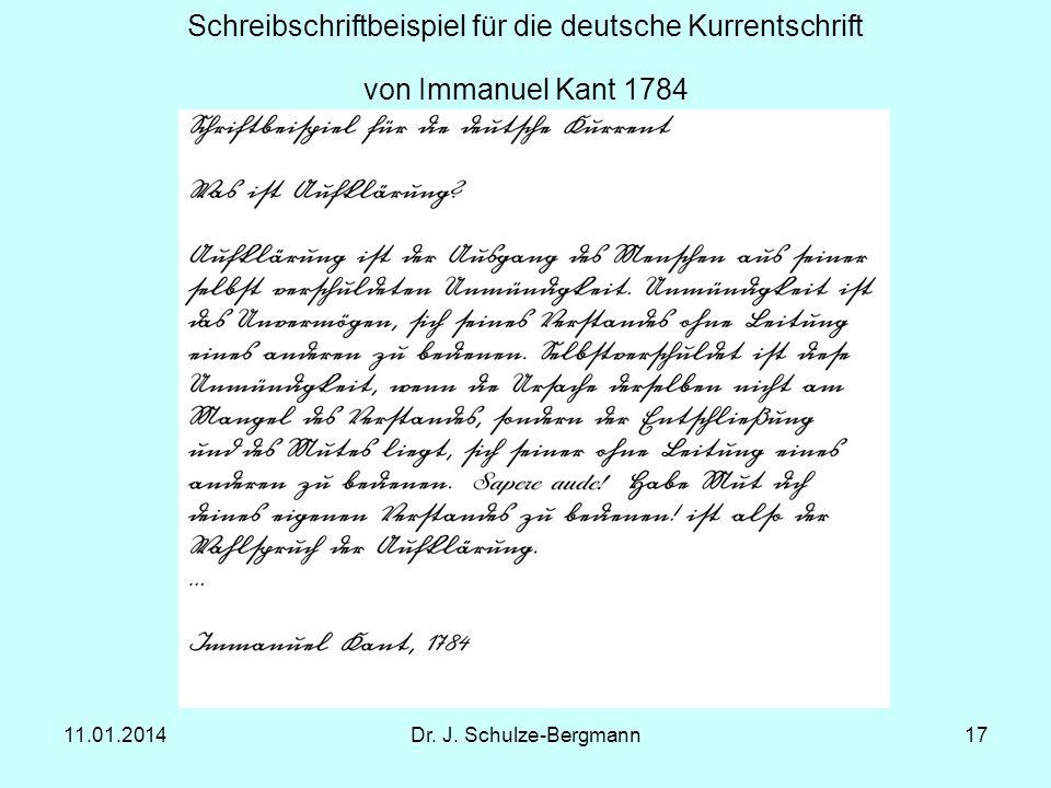 Schreibschriftbeispiel für die deutsche Kurrentschrift von Immanuel Kant 1784