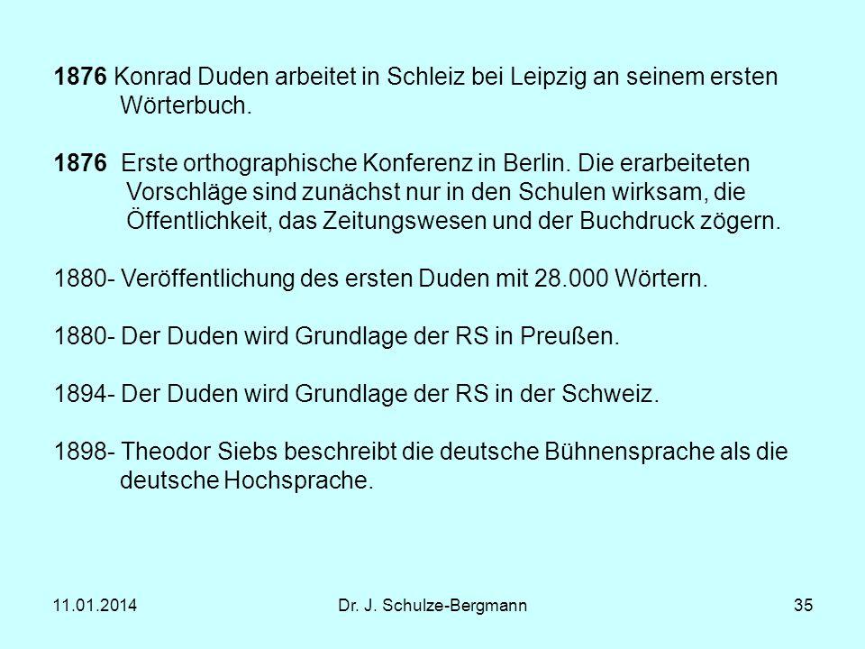 1876 Konrad Duden arbeitet in Schleiz bei Leipzig an seinem ersten