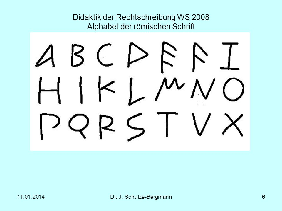 Didaktik der Rechtschreibung WS 2008 Alphabet der römischen Schrift