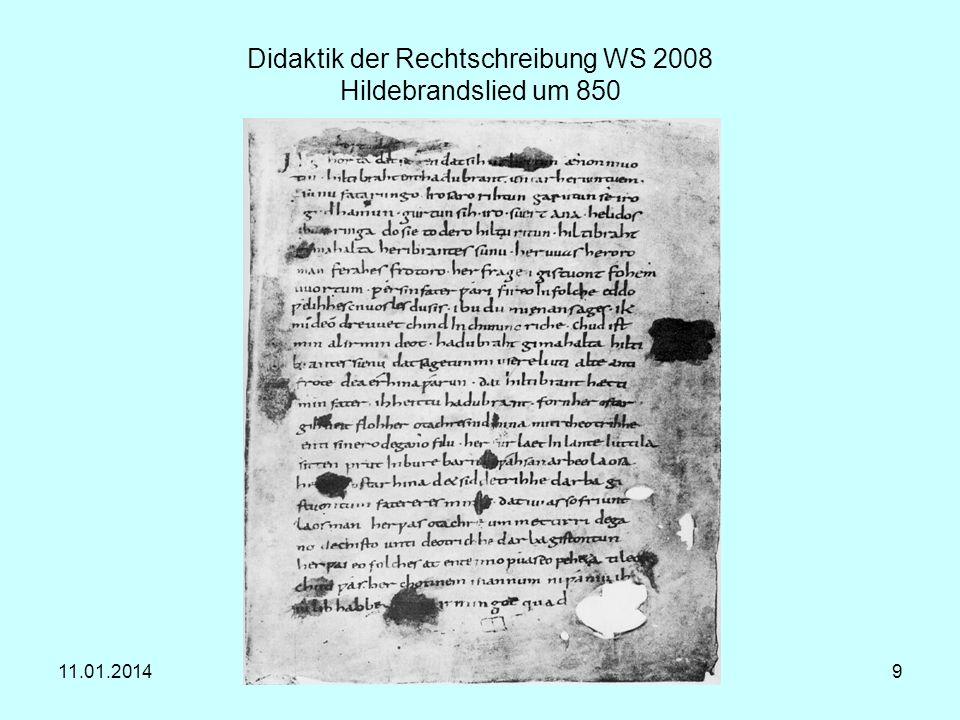 Didaktik der Rechtschreibung WS 2008 Hildebrandslied um 850