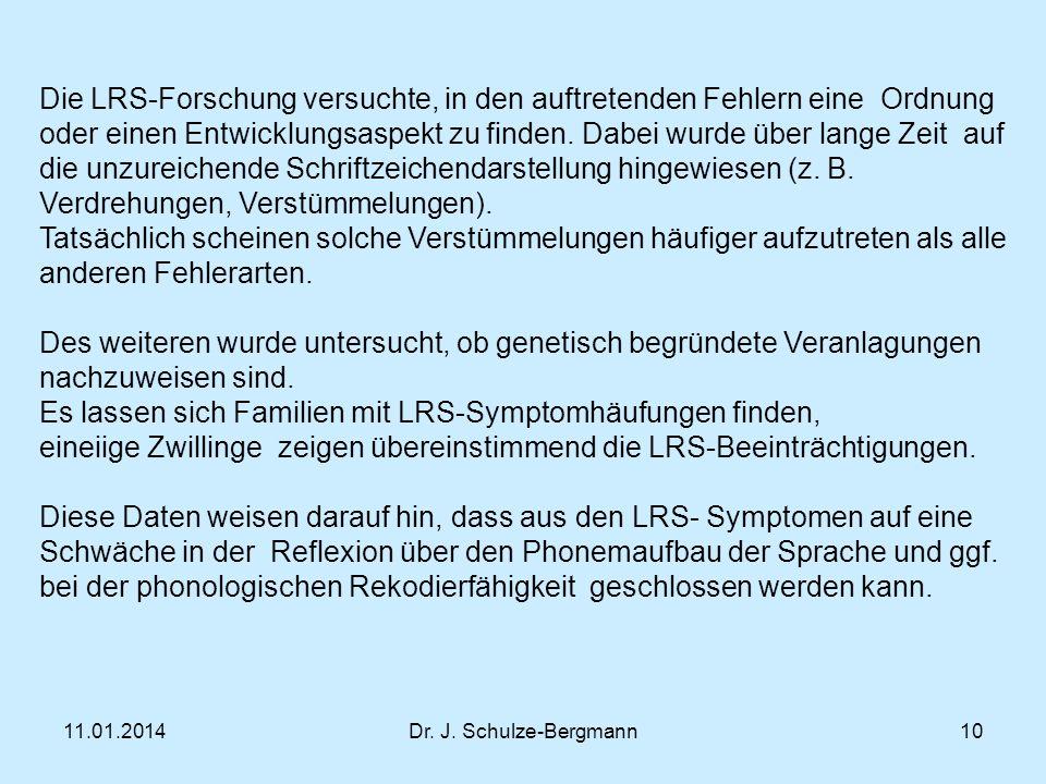 Es lassen sich Familien mit LRS-Symptomhäufungen finden,
