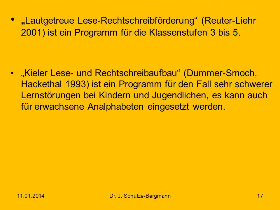 """""""Lautgetreue Lese-Rechtschreibförderung (Reuter-Liehr 2001) ist ein Programm für die Klassenstufen 3 bis 5."""