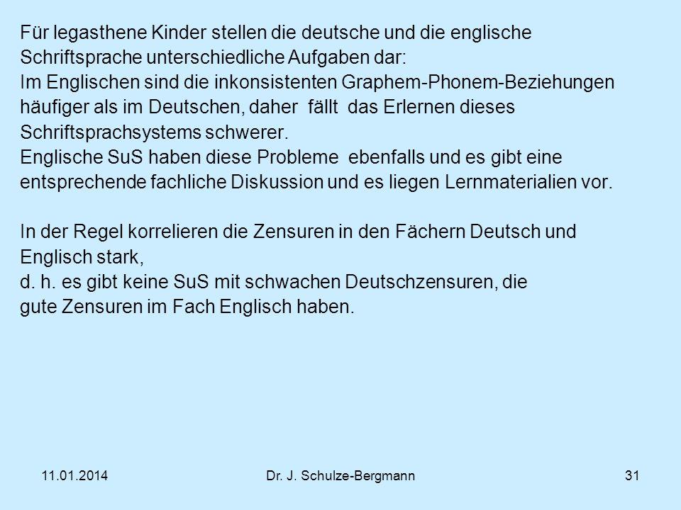 Für legasthene Kinder stellen die deutsche und die englische