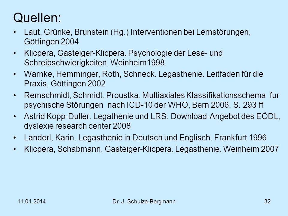 Quellen: Laut, Grünke, Brunstein (Hg.) Interventionen bei Lernstörungen, Göttingen 2004.