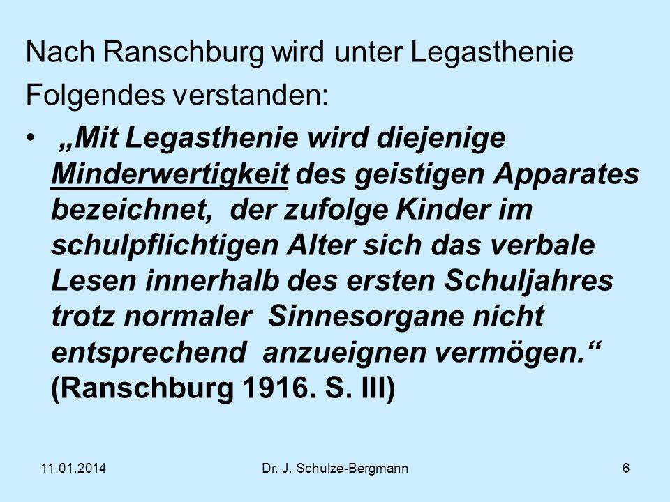 Nach Ranschburg wird unter Legasthenie Folgendes verstanden: