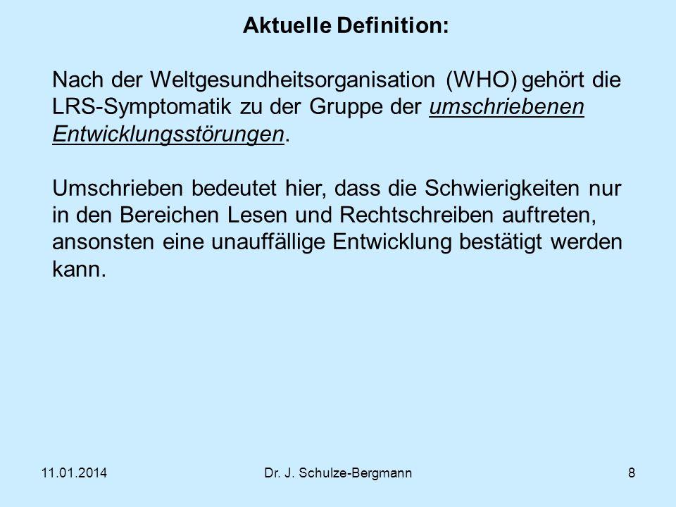 Aktuelle Definition: Nach der Weltgesundheitsorganisation (WHO) gehört die LRS-Symptomatik zu der Gruppe der umschriebenen Entwicklungsstörungen.