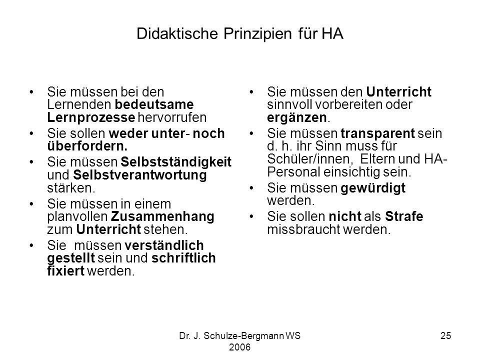 Didaktische Prinzipien für HA