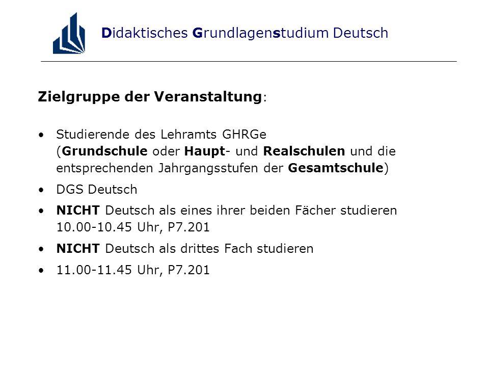 Didaktisches Grundlagenstudium Deutsch