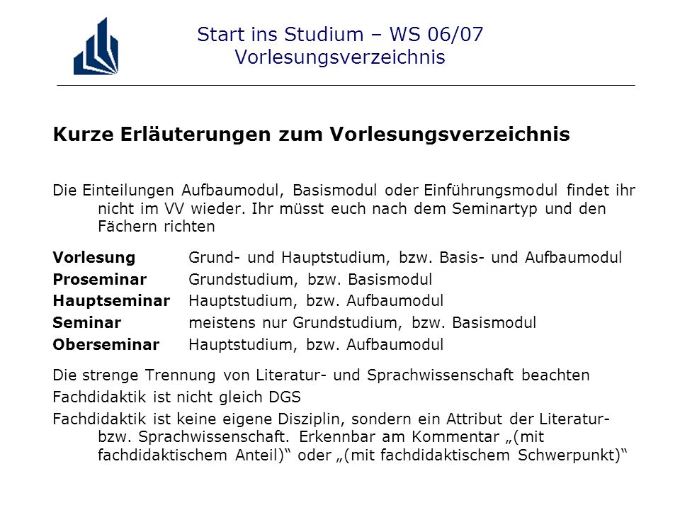 Start ins Studium – WS 06/07 Vorlesungsverzeichnis