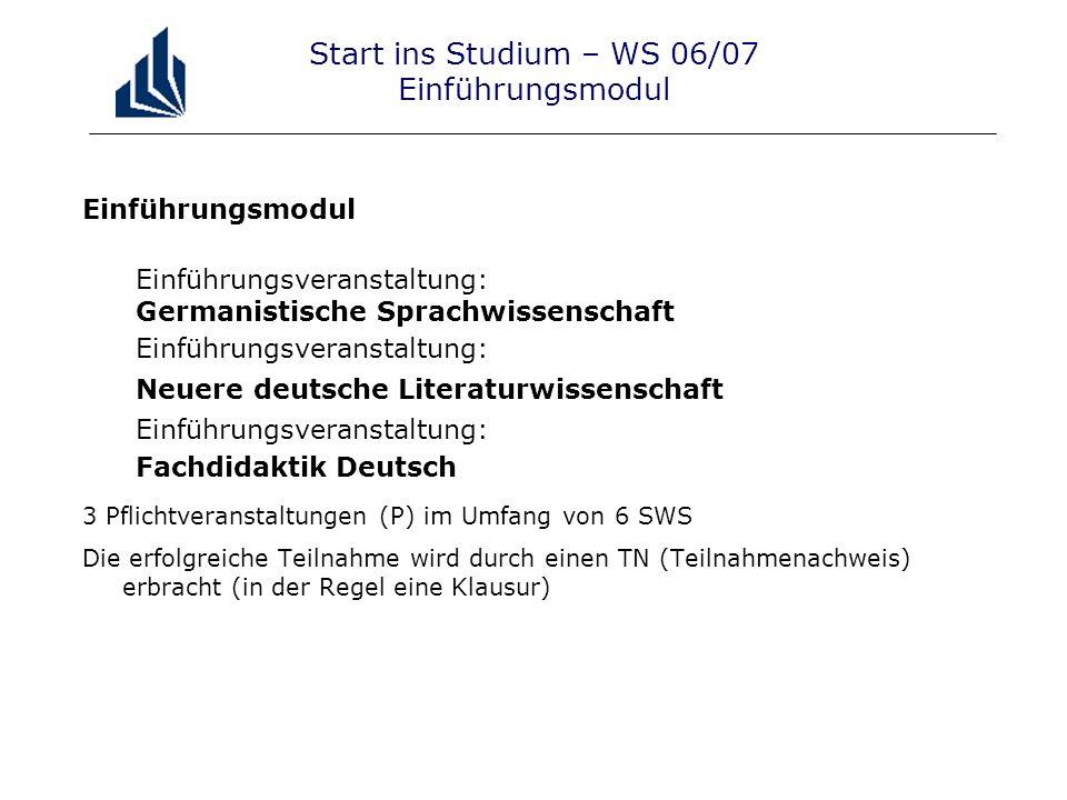 Start ins Studium – WS 06/07 Einführungsmodul