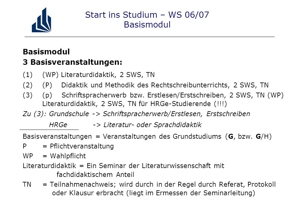 Start ins Studium – WS 06/07 Basismodul