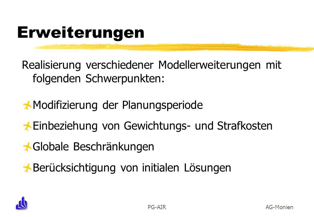Erweiterungen Realisierung verschiedener Modellerweiterungen mit folgenden Schwerpunkten: Modifizierung der Planungsperiode.