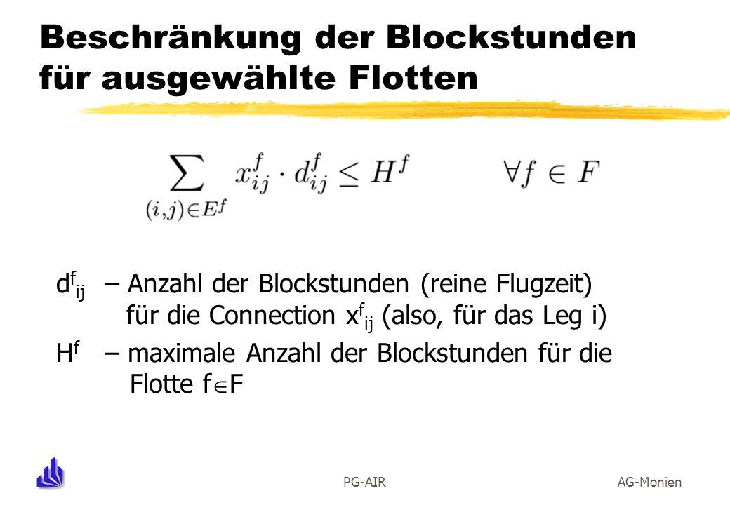 Beschränkung der Blockstunden für ausgewählte Flotten