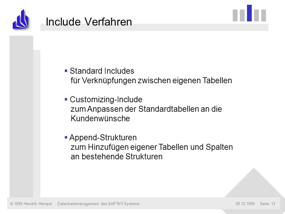 Include Verfahren Standard Includes für Verknüpfungen zwischen eigenen Tabellen.