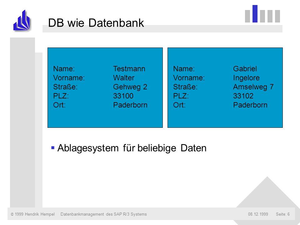 DB wie Datenbank Ablagesystem für beliebige Daten Name: Testmann