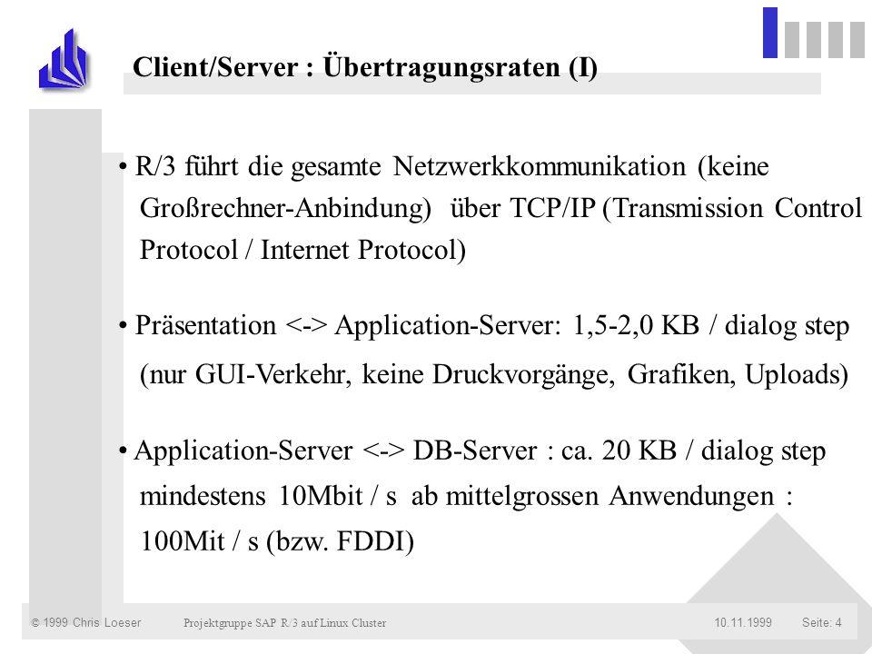 Client/Server : Übertragungsraten (I)