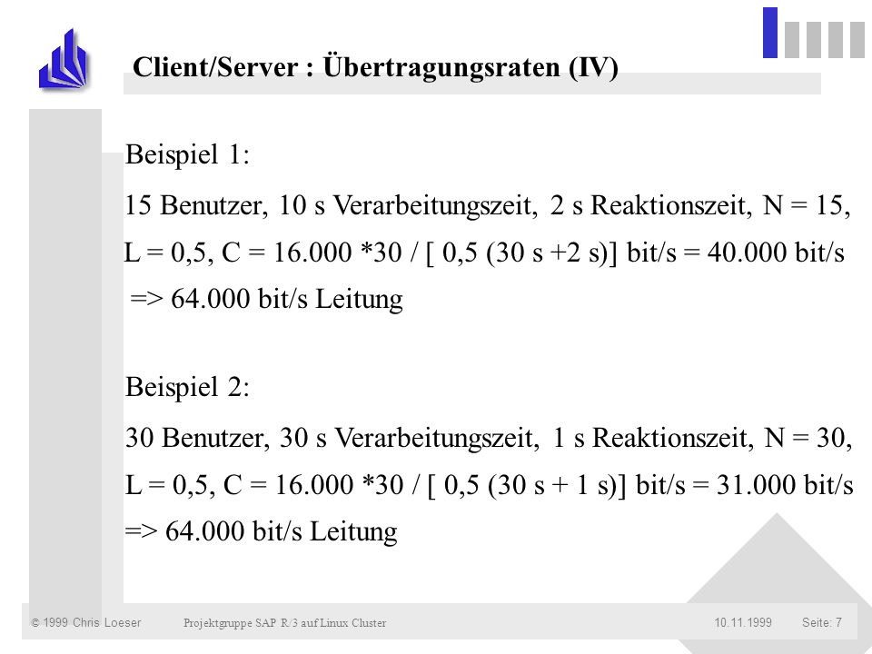 Client/Server : Übertragungsraten (IV)