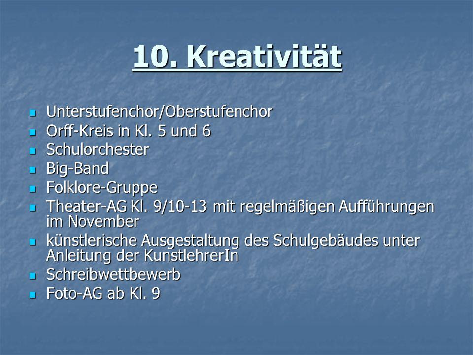 10. Kreativität Unterstufenchor/Oberstufenchor