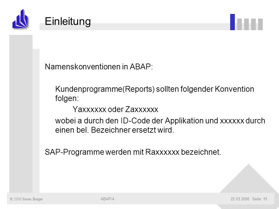Einleitung Namenskonventionen in ABAP: