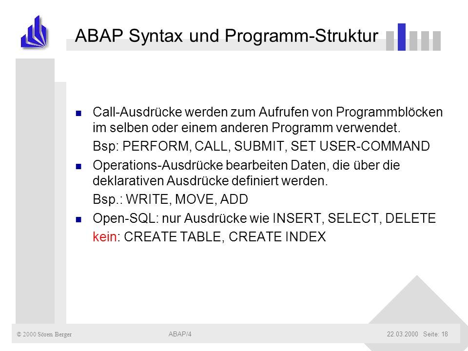 ABAP Syntax und Programm-Struktur
