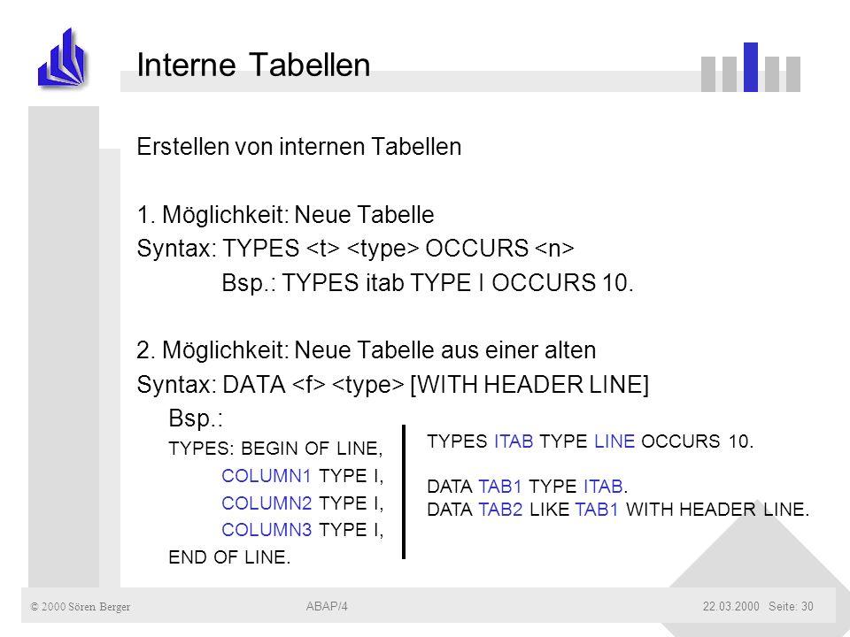 Interne Tabellen Erstellen von internen Tabellen