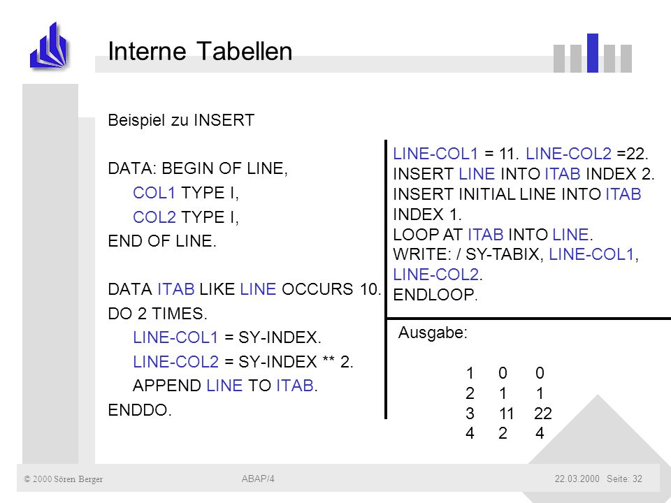 Interne Tabellen Beispiel zu INSERT DATA: BEGIN OF LINE, COL1 TYPE I,