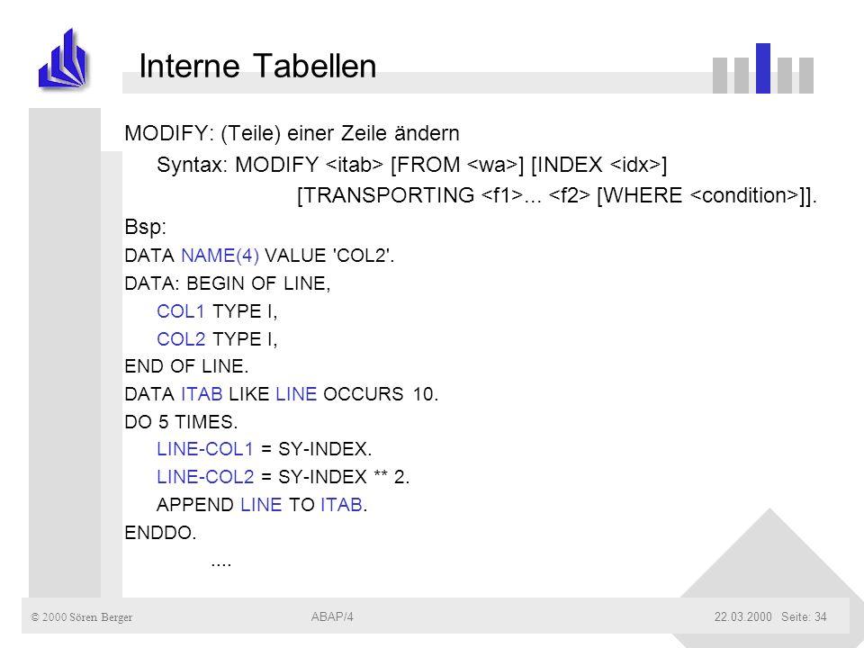 Interne Tabellen MODIFY: (Teile) einer Zeile ändern