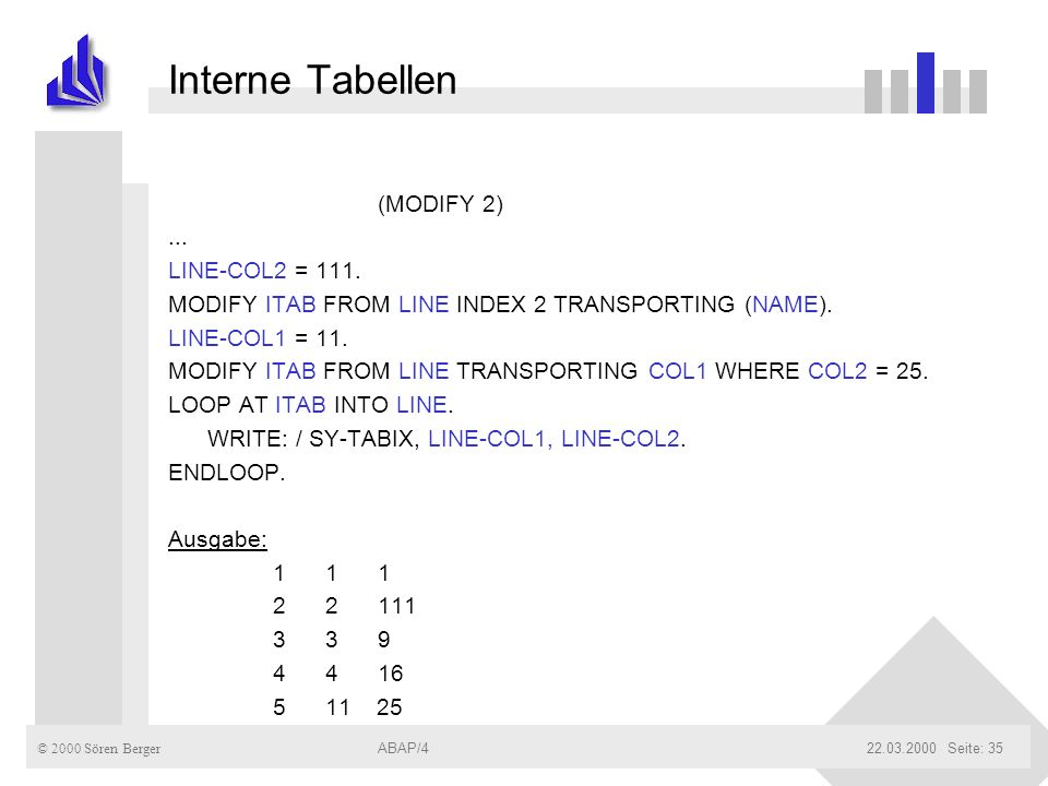 Interne Tabellen (MODIFY 2) ... LINE-COL2 = 111.