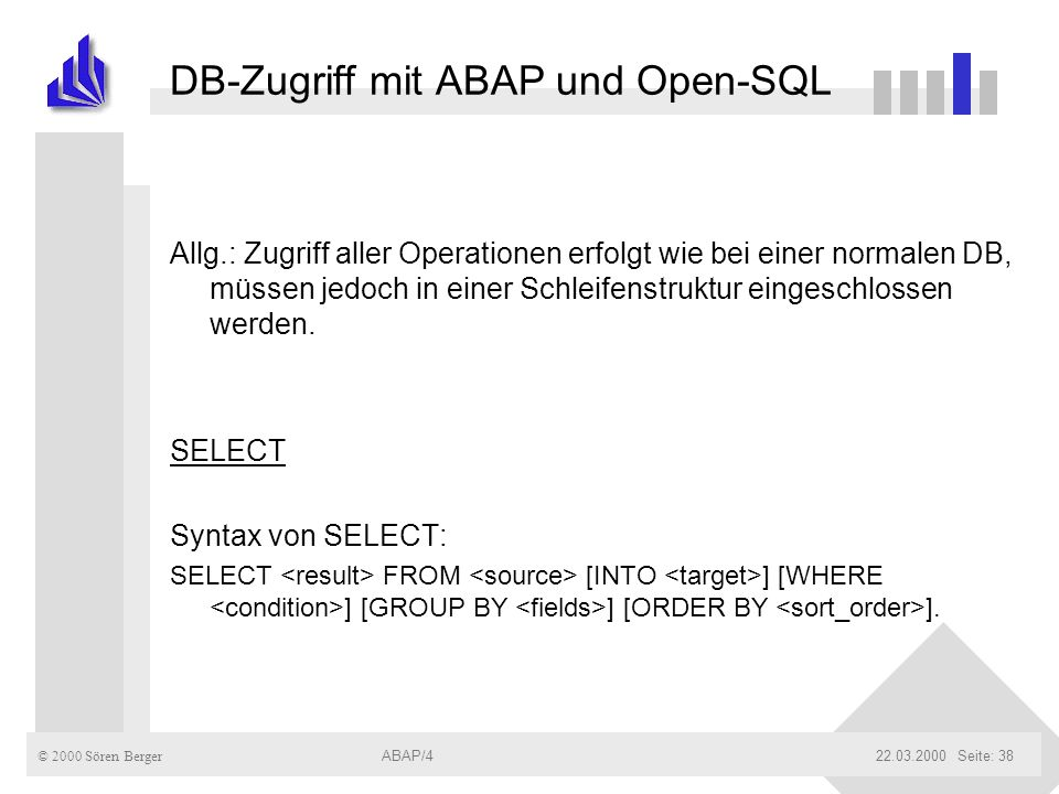 DB-Zugriff mit ABAP und Open-SQL