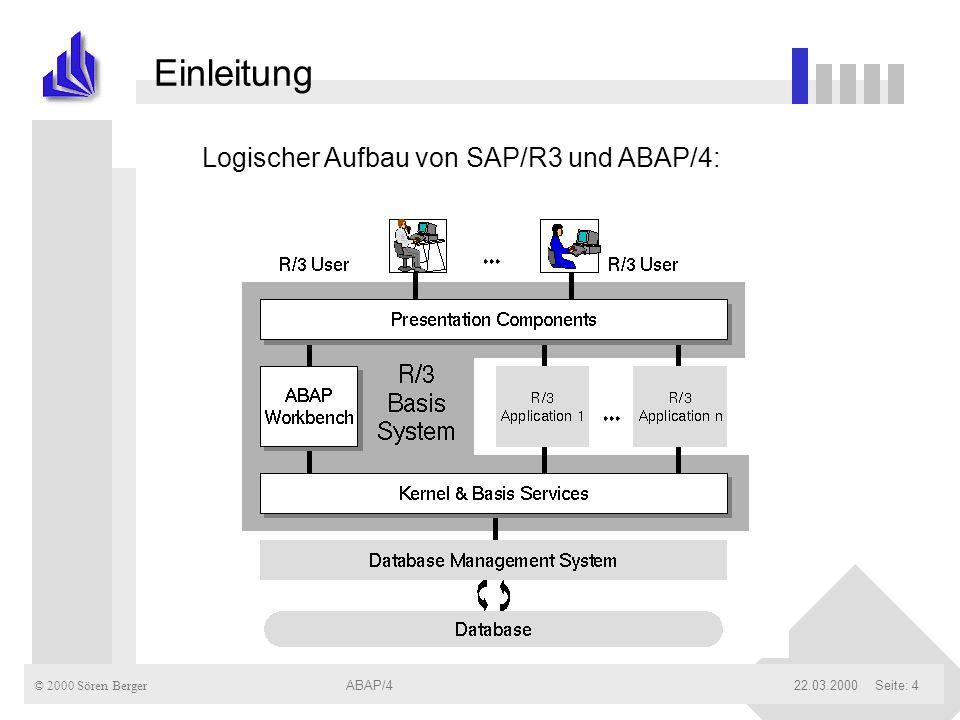 Einleitung Logischer Aufbau von SAP/R3 und ABAP/4: ABAP/4