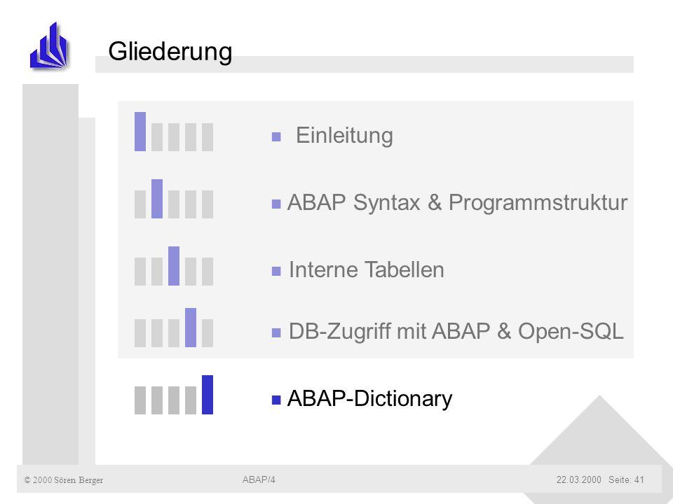 Gliederung Einleitung ABAP Syntax & Programmstruktur Interne Tabellen