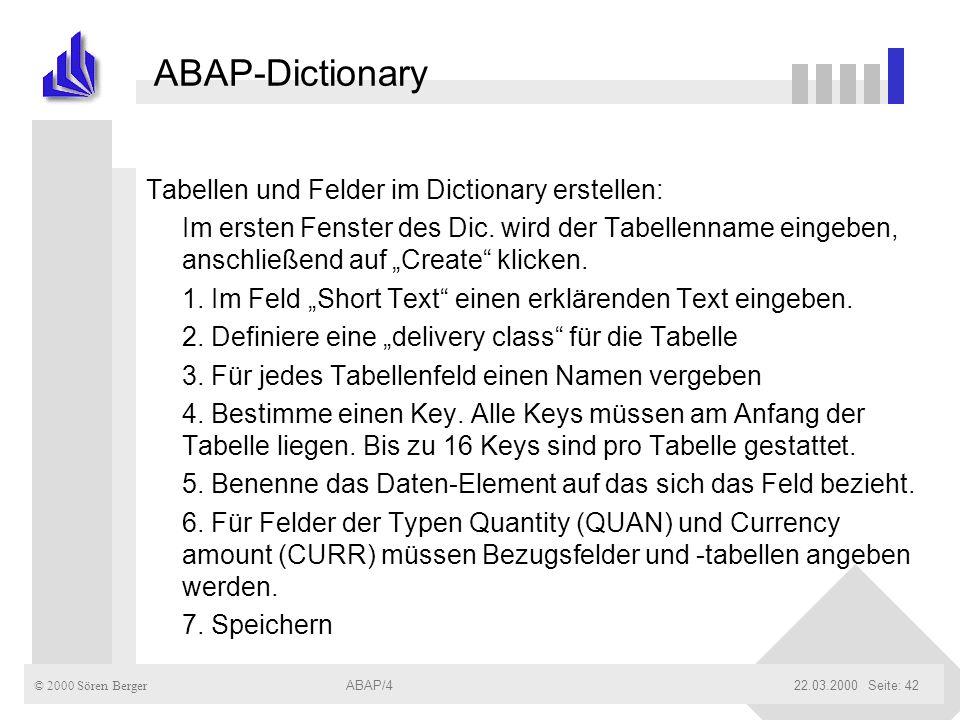 ABAP-Dictionary Tabellen und Felder im Dictionary erstellen: