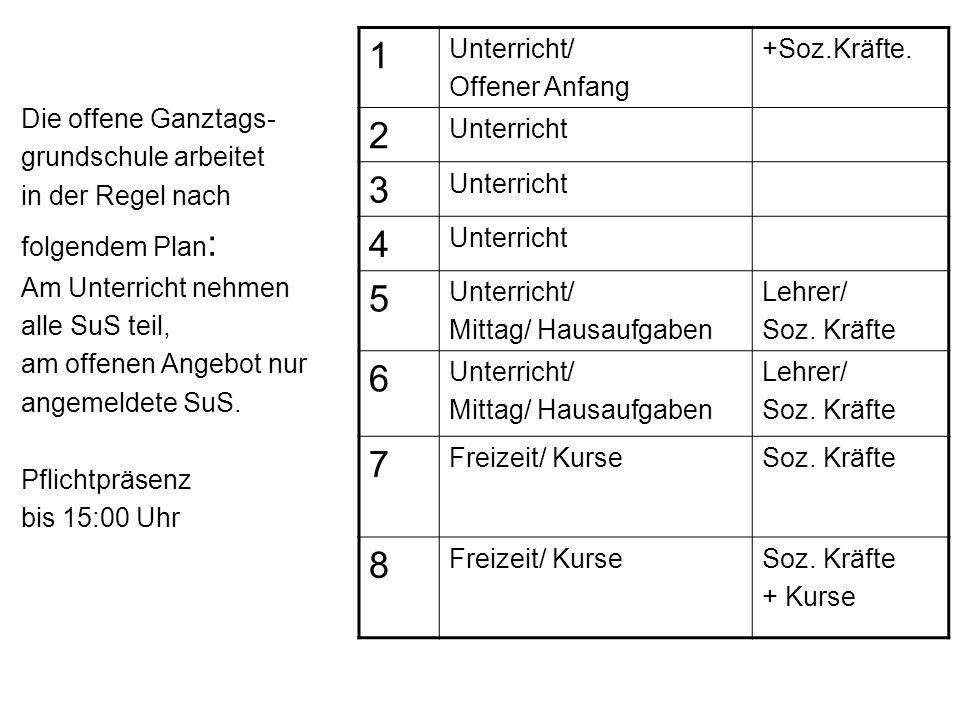 1 2 3 4 5 6 7 8 Die offene Ganztags- grundschule arbeitet