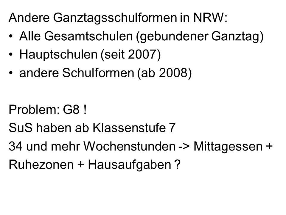 Andere Ganztagsschulformen in NRW: