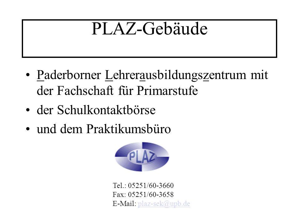 PLAZ-Gebäude Paderborner Lehrerausbildungszentrum mit der Fachschaft für Primarstufe. der Schulkontaktbörse.